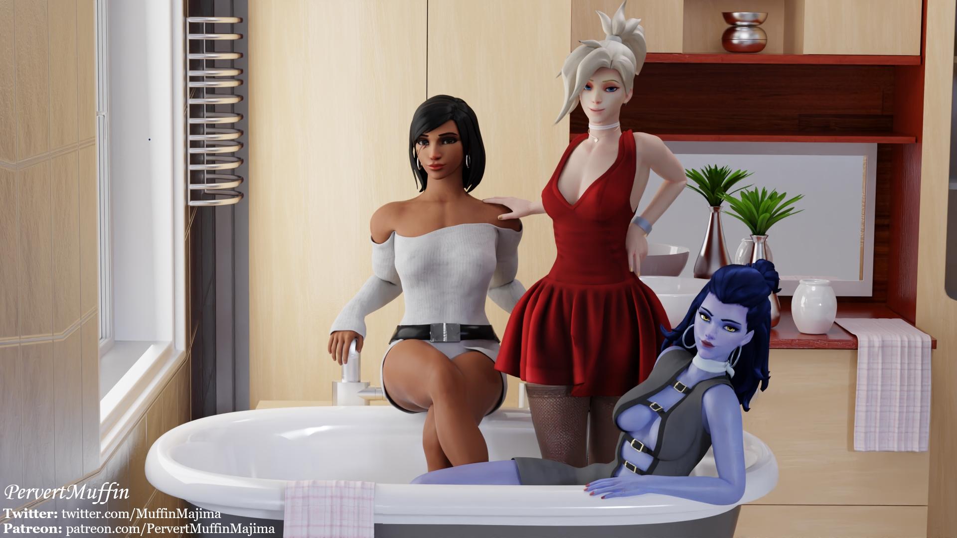 OW Girls On The Bathtub (Dress) - page01 Overwatch,  xxx porn rule34